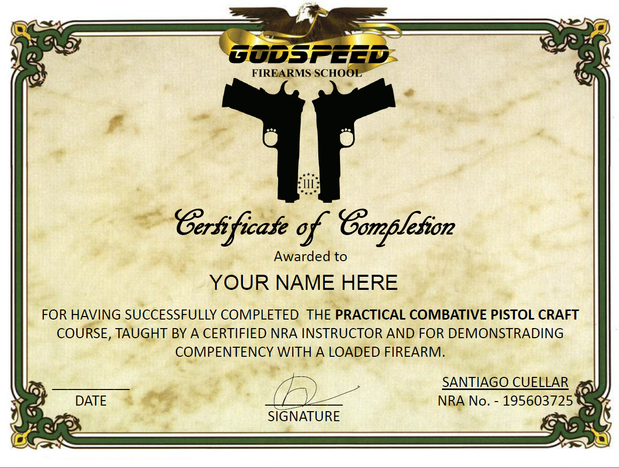 Practical Combative Pistol Craft Course Godspeed